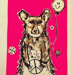 Party Bear ink drawing by Lizzie Reakes
