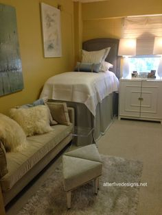 This dorm room looks so cozy! The site has a ton of dorm room decor inspiration.