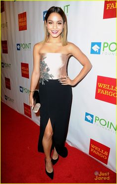 Vanessa Hudgens looks absolutely beautiful while making her red carpet entrance at the Point Foundation's Voices On Point Gala on Saturday evening (September 13)