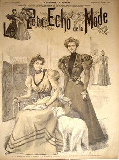 Leg o'mutton sleeves abound on this lovely Victorian Magazine Cover from the 1890s.