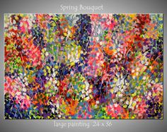 Large Modern Abstract Flower Painting on Canvas Contemporary Landscape Colorful Vivid 24x36 JMichael