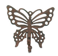 Cast iron, 7 inches by 7 inches. Cast Iron, It Cast, Decorative Wall Hooks, Iron Wall, Scroll Saw, New Homes, Wall Decor, Museum, Butterfly