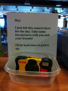 One of the disposable cameras distributed on campus- program idea. New Students, College Students, Ra College, College Event Ideas, Resident Assistant Programs, Ra Events, Ra Programming, College Activities, College Bulletin Boards