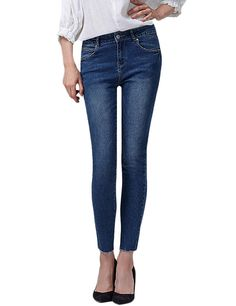Women's Frayed Hem Mid Rise Ankle Skinny Jeans *** Read more reviews of the product by visiting the link on the image.