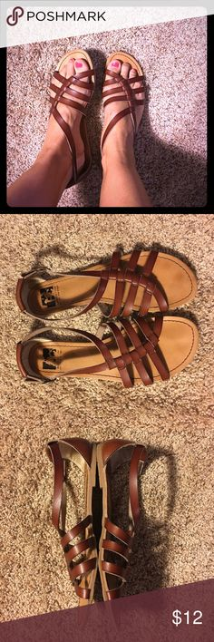 Cute comfy sandals Good used condition. Only flaw is on back left heel their is a piece of stitching loose....see in pic. Still have lots of wear left! BC Footwear Shoes Sandals