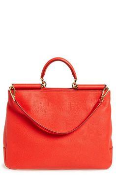 Dolce&Gabbana 'Miss Sicily' Leather Satchel, Red/Orange