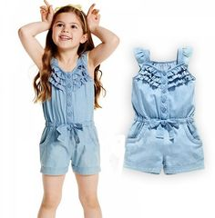 Tendance salopette 2017 – 2016 new summer baby girl romper clothes short sleeved one pieces Jumpsuit cloth… Romper Outfit, Lace Romper, Denim Romper, Jeans Jumpsuit, Cotton Jumpsuit, Jumpsuit Dress, Denim And Lace, Jumpsuits For Girls, Girls Rompers