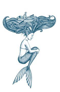 Mermaid: hair ocean Art Print