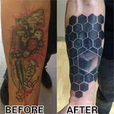 What does blackout tattoo mean? We have blackout tattoo ideas, designs, symbolism and we explain the meaning behind the tattoo. White Over Black Tattoo, Black Tattoos, Blackout Tattoo, Hexagon Tattoo, Cover Up Tattoos, Tattoos With Meaning, I Tattoo, Tatting, Piercing