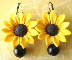 Sunflower Earrings Flower Jewelry Yellow Bridesmaid by zafirenia, $26.00
