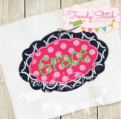 – x 3522 Stitches – x 4439 Stitches - x 6153 Stitches – x 7948 Stitches - x 6773 Stitches NOTE: Fonts/Wording shown in sample photos ARE NOT included in the purchase. This is our Dot font and can be purchased separately. Applique Designs, Machine Embroidery Designs, Star Stitch, Oval Frame, Stitch Design, Patch, All Design, 9 And 10, Outdoor Blanket