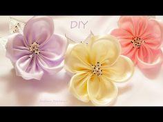 Простые цветы из ленты🌸 Повязка с цветком🌸 Handmade - YouTube