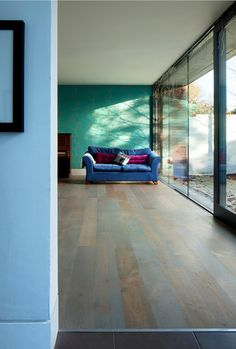 Garden room with aged oak floor by Kahrs from Ceco. Wallpaper by Barneby Gates - The English Robin. New home by McCann Moore Architects Belfast. Flooring Ideas, Floor Design, Belfast, Gates, Architects, Robin, Floors, New Homes, English