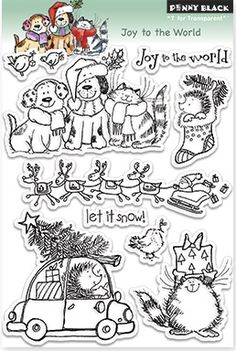 Penny Black Cling Rubber Stamp Joy To The World. Quickly and easily add inked images to your holiday paper crafting project with these clear stamps. This inch sheet contains nine clear stamps. Design: Joy To The World. Penny Black Karten, Penny Black Cards, Stencils, Tampons Transparents, Black Christmas, Winter Christmas, Ink Stamps, Joy To The World, Simon Says Stamp