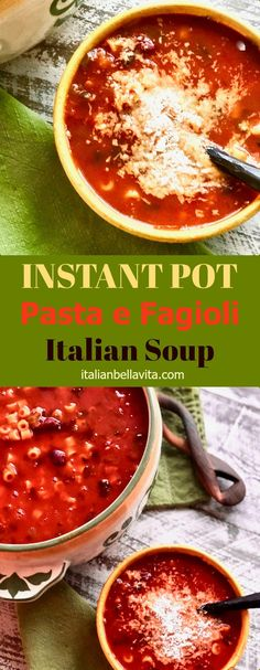 You can have this traditional Italian soup on the table in minutes with this recipe! Instant Pot Pasta e Fagiole Italian Soup on La Bella Vita Cucina Italian Soup, Italian Pasta, Italian Recipes, Pasta Recipes, Soup Recipes, Vegetarian Recipes, Healthy Recipes, Vegetarian Italian, Italian Cooking