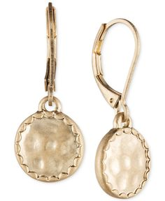 lonna & lilly Gold-Tone Hammered Disc Drop Earrings - All Fashion Jewelry - Jewelry & Watches - Macy's