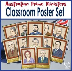 Australian Prime Ministers Classroom Display Posters | 29 Australian Prime Ministers classroom display posters in one pack. Print them yourself!