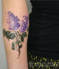 Pete Zebley Watercolor flower tattoo