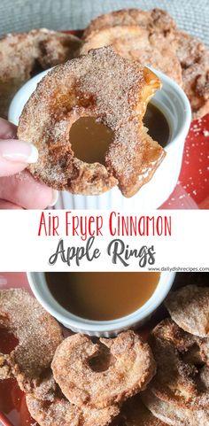 Air Fryer Recipes Dessert, Air Fryer Oven Recipes, Air Frier Recipes, Cinnamon Apple Rings, Fried Apple Rings, Cinnamon Apples, Cooks Air Fryer, Quick Snacks, Healthy Apple Snacks