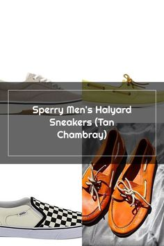 Sperry Men's Halyard Sneakers (Tan Chambray) Sperrys Men, Chambray, Vans, Loafers, Sneakers, Shoes, Fashion, Travel Shoes, Tennis