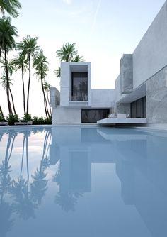 villa on Behance Design Villa Moderne, Modern Villa Design, Architecture Résidentielle, Contemporary Architecture, Contemporary Design, Conception Villa, Interior Design And Graphic Design, Design Art, Modern Architects