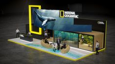 exhibit design for National Geographic 2018 Exhibition Stall, Exhibition Booth Design, Exhibition Display, Exhibit Design, Web Banner Design, Wall Design, Design Design, National Geographic, Standing Signage
