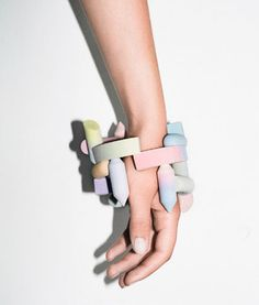 'Gradient Bangles', by Berlin-based artist Maiko Gubler, 2013, hybridises digital art and wearable jewellery