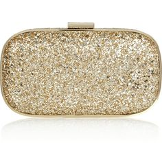 Anya Hindmarch Marano glitter-finished box clutch (1,155 ILS) ❤ liked on Polyvore featuring bags, handbags, clutches, purses, accessories, bolsas, gold, gold handbags, gold purse and glitter clutches