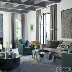 Eclectic elegance. #interiordesign #inspiration #home decor #homedecorating #ideas #home #livingroom #design #interiordecorating #sofa #furniture via @elledecor