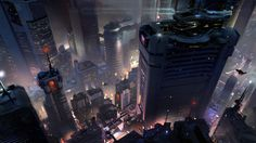 Halo 5 Concept Art by Sparth : Cyberpunk Cyberpunk City, Arte Cyberpunk, Futuristic City, Futuristic Armour, Halo 5, Environment Concept Art, Environment Design, Science Fiction, Matte Painting