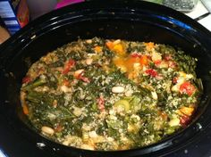 CROCKPOT Mediterranean Kale & Cannellini Stew with Farro  Makes: 6 servings  Ingredients  4 cups reduced-sodium chicken broth or reduced-sodium vegetable broth  1 14 1/2 ounce fire-roasted tomatoes  1 cup farro, rinsed, or kamut  1 cup coarsely chopped onion (1 large)  2 medium carrots, halved lengthwise and thinly sliced crosswise  1 cup coarsely chopped celery (2 stalks)  4 cloves garlic, crushed  1/2 teaspoon crushed red pepper  1/4 teaspoon salt  4 cups coarsely chopped fresh green kale…