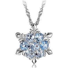 Diamond Fine Necklaces & Pendants Sterling Silver Frozen Square Princess Elsa Blue Snowflake Crystal Necklace
