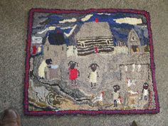 BLACK FARM HOOKED RUG WITH LOG CABIN/ NEVER BEEN WALKED ON