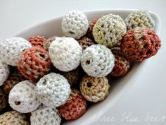 These crochet beads are made by covering wooden beads with 100% bamboo yarn. Bamboo yarn is like cotton, but bamboo is more softer then cotton.
