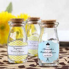 Personalized Bridal Vintage Milk Favor Jars by Beau-coup