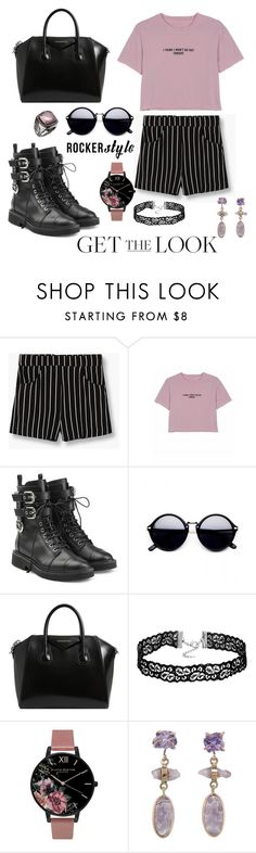 """Get The Rocker Chic Style LOOK"" by destiny-find ❤ liked on Polyvore featuring MANGO, Giuseppe Zanotti, Givenchy, Olivia Burton, Melissa Joy Manning, Mystic Light, rockerchic and rockerstyle"