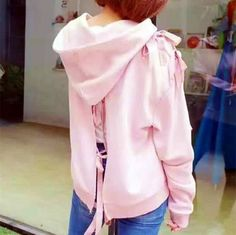 Plain pink lace up sweatshirt for women fashion zip up hoodies Zip Up Hoodies, Hooded Sweatshirts, Pink Lace, Lace Up, Pink Fashion, Womens Fashion, Pink Zip Ups, Lace Sweatshirt, Stylish Dresses