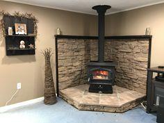 Stove Fireplace, Diy Fireplace, Fireplace Design, Wood Stove Decor, Diy Wood Stove, Wood Stove Heater, Pellet Stove, Wood Burning Stove Corner, Wood Stove Surround