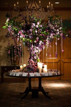 Placecard Table: A lavender and crystal tree we placed on an antique table at the Four Seasons {Evantine Design, Photo: Ash Imagery}