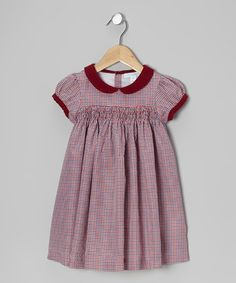 Take a look at this Burgundy Shirred Gingham Dress - Infant & Toddler by Alouette on #zulily today!