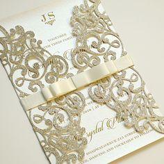 Gold Glitter Laser Cut Wedding Invitations