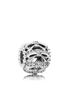 Pandora Charm - Sterling Silver & Cubic Zirconia Shimmering Sentiments, Moments Collection