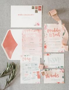 Coral Watercolor Wedding Invitations | Guy Evans Photography | http://heyweddinglady.com/metallic-bohemian-wedding-ideas-coral-copper