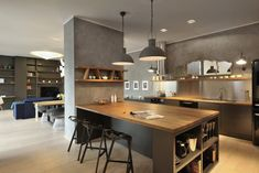 Modern Kitchen Interior Situla Model Apartment by GAO Architects - Elegant Kitchens, Grey Kitchens, Home Kitchens, Custom Kitchens, Interior Design Kitchen, Modern Interior Design, Luxury Interior, New Kitchen, Kitchen Tops