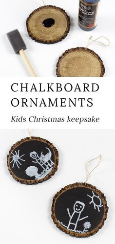 These Easy Keepsake Chalkboard Ornaments are guaranteed to make your heart swoon. These Easy Keepsake Chalkboard Ornaments are guaranteed to make your heart swoon every holiday season. Made with wood sl. Diy Gifts For Christmas, Diy Gifts For Mom, Diy Christmas Ornaments, Holiday Crafts, Fun Gifts, Kid Craft Gifts, Christmas Present Ideas For Mom, Christmas Crafts For Kids To Make At School, Grandparents Christmas Gifts