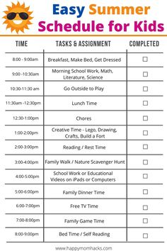 Easy Daily Summer Schedule for Kids