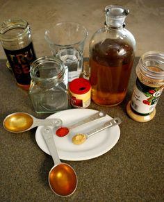 Home Remedy for cough using common items from the pantry. ¼ t. Cayenne, ¼ t. Ginger, 1 T. Cider Vinegar, 2 T. Water, 1 T. Honey Dissolve cayenne and ginger in cider vinegar and water. Add honey and shake well. as needed for cough. Chest Congestion Remedies, Sore Throat Remedies, Natural Asthma Remedies, Flu Remedies, Herbal Remedies, Health Remedies, Cold And Flu Medicine, Cough Medicine, Homemade Cough Syrup