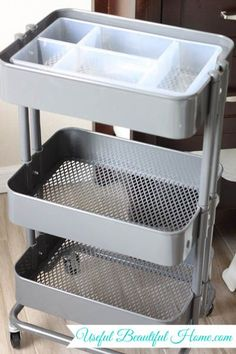 IKEA Organizer plastic basket insert to organize. Also love the cart also sold at IKEA