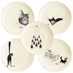 Dig Into Albert Dubout's Pretty Kitty Tablewares. I think I need these plates