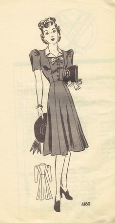 1940s Vintage WWII Style Dress Sewing Pattern Anne Adams Long Short Sleeves Puff Shoulder Button Front Uncut FF Bust 34. $23.00, via Etsy.